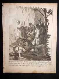Butley 1762 Antique Religious Print. Moses Striketh the Rock